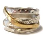 Spiralring aus Sterlingsilber mit Gold (750).Gr.57, 395,- €